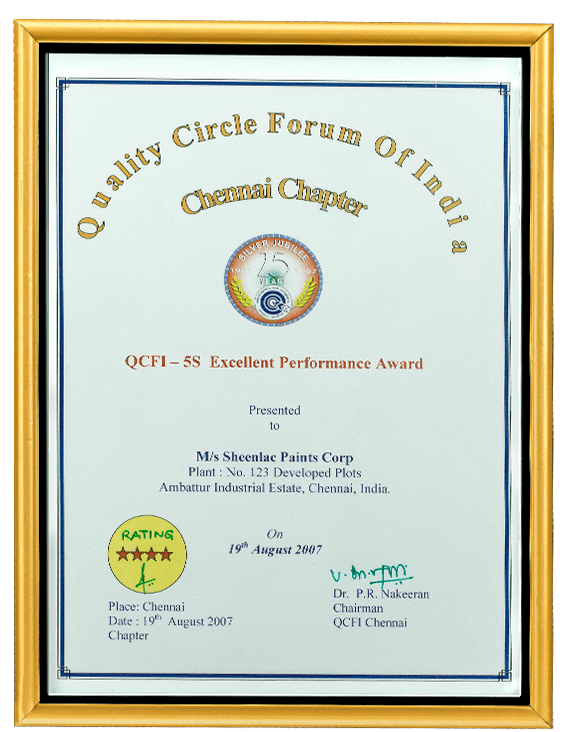 Quality Cricle Forum of India 2007 Certificate